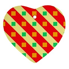 Squares And Stripes    			ornament (heart) by LalyLauraFLM