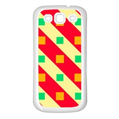Squares And Stripes    			samsung Galaxy S3 Back Case (white) by LalyLauraFLM