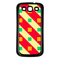 Squares And Stripes    			samsung Galaxy S3 Back Case (black) by LalyLauraFLM