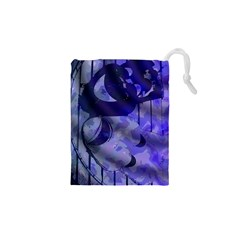 Blue Theater Drama Comedy Masks Drawstring Pouches (XS)