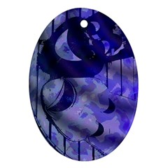 Blue Theater Drama Comedy Masks Ornament (Oval)