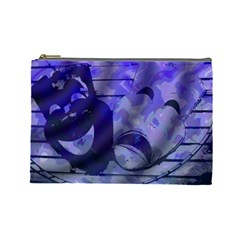 Blue Comedy Drama Theater Masks Cosmetic Bag (Large)  by BrightVibesDesign