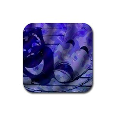 Blue Comedy Drama Theater Masks Rubber Square Coaster (4 pack)  by BrightVibesDesign