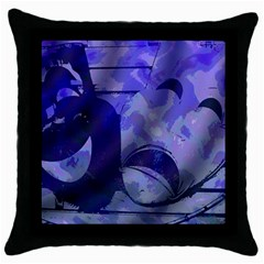Blue Comedy Drama Theater Masks Throw Pillow Case (black) by BrightVibesDesign