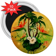 Tropical Design With Flowers And Palm Trees 3  Magnets (10 Pack)  by FantasyWorld7