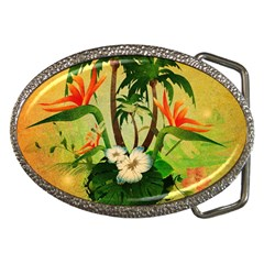 Tropical Design With Flowers And Palm Trees Belt Buckles by FantasyWorld7