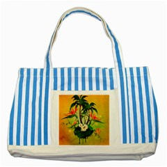 Tropical Design With Flowers And Palm Trees Striped Blue Tote Bag by FantasyWorld7
