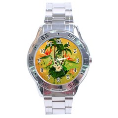 Tropical Design With Flowers And Palm Trees Stainless Steel Analogue Watch by FantasyWorld7
