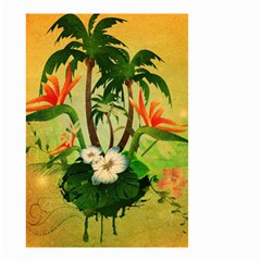 Tropical Design With Flowers And Palm Trees Small Garden Flag (two Sides) by FantasyWorld7