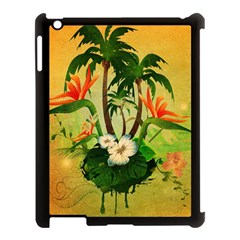 Tropical Design With Flowers And Palm Trees Apple Ipad 3/4 Case (black) by FantasyWorld7
