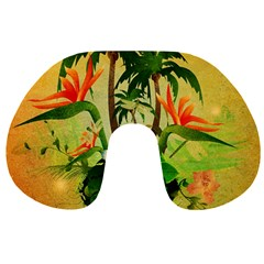 Tropical Design With Flowers And Palm Trees Travel Neck Pillows by FantasyWorld7