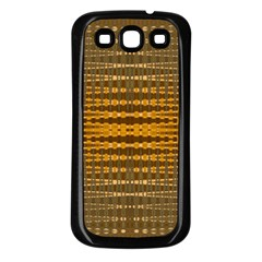 Yellow Gold Khaki Glow Pattern Samsung Galaxy S3 Back Case (black) by BrightVibesDesign