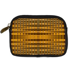 Yellow Gold Khaki Glow Pattern Digital Camera Cases by BrightVibesDesign