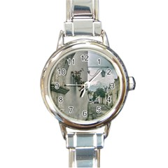 Colonial Street Of Arequipa City Peru Round Italian Charm Watch by dflcprints