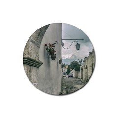 Colonial Street Of Arequipa City Peru Rubber Coaster (round)  by dflcprints