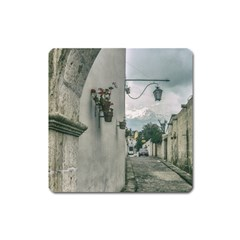 Colonial Street Of Arequipa City Peru Square Magnet by dflcprints