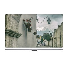 Colonial Street Of Arequipa City Peru Business Card Holders by dflcprints