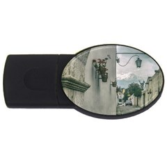 Colonial Street Of Arequipa City Peru Usb Flash Drive Oval (2 Gb)  by dflcprints