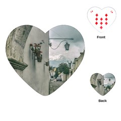 Colonial Street Of Arequipa City Peru Playing Cards (heart)  by dflcprints
