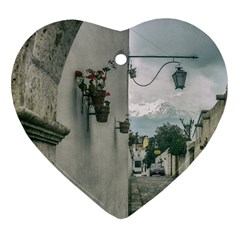 Colonial Street Of Arequipa City Peru Heart Ornament (2 Sides) by dflcprints