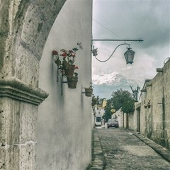 Colonial Street Of Arequipa City Peru Magic Photo Cubes by dflcprints