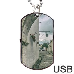 Colonial Street Of Arequipa City Peru Dog Tag Usb Flash (one Side) by dflcprints