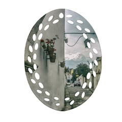 Colonial Street Of Arequipa City Peru Ornament (oval Filigree)  by dflcprints