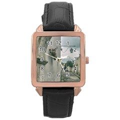 Colonial Street Of Arequipa City Peru Rose Gold Leather Watch  by dflcprints