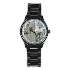 Colonial Street Of Arequipa City Peru Stainless Steel Round Watch by dflcprints