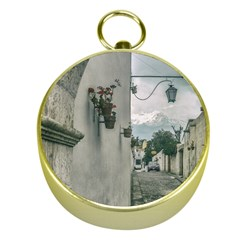 Colonial Street Of Arequipa City Peru Gold Compasses by dflcprints