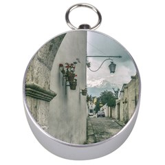 Colonial Street Of Arequipa City Peru Silver Compasses by dflcprints