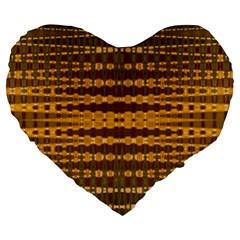 Yellow Gold Khaki Glow Pattern Large 19  Premium Flano Heart Shape Cushions by BrightVibesDesign