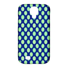 Mod Retro Green Circles On Blue Samsung Galaxy S4 Classic Hardshell Case (pc+silicone) by BrightVibesDesign