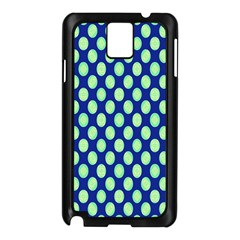 Mod Retro Green Circles On Blue Samsung Galaxy Note 3 N9005 Case (black) by BrightVibesDesign