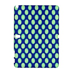 Mod Retro Green Circles On Blue Samsung Galaxy Note 10 1 (p600) Hardshell Case by BrightVibesDesign