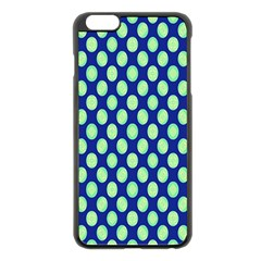 Mod Retro Green Circles On Blue Apple Iphone 6 Plus/6s Plus Black Enamel Case by BrightVibesDesign