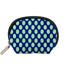 Mod Retro Green Circles On Blue Accessory Pouches (small)  by BrightVibesDesign