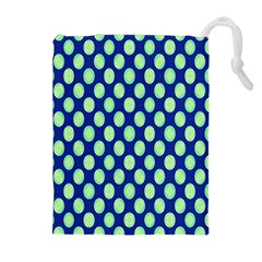 Mod Retro Green Circles On Blue Drawstring Pouches (extra Large) by BrightVibesDesign
