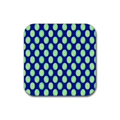 Mod Retro Green Circles On Blue Rubber Square Coaster (4 Pack)  by BrightVibesDesign
