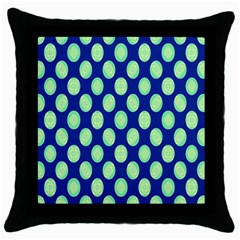 Mod Retro Green Circles On Blue Throw Pillow Case (black) by BrightVibesDesign