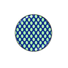 Mod Retro Green Circles On Blue Hat Clip Ball Marker by BrightVibesDesign