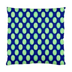 Mod Retro Green Circles On Blue Standard Cushion Case (one Side) by BrightVibesDesign