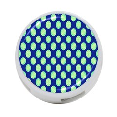 Mod Retro Green Circles On Blue 4 Port Usb Hub (two Sides)  by BrightVibesDesign