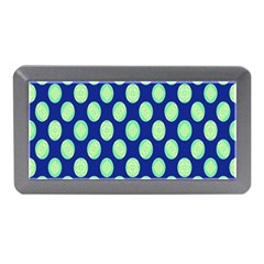 Mod Retro Green Circles On Blue Memory Card Reader (mini) by BrightVibesDesign