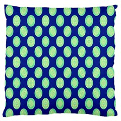 Mod Retro Green Circles On Blue Large Flano Cushion Case (one Side) by BrightVibesDesign