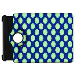 Mod Retro Green Circles On Blue Kindle Fire Hd Flip 360 Case by BrightVibesDesign