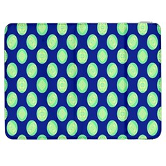 Mod Retro Green Circles On Blue Samsung Galaxy Tab 7  P1000 Flip Case by BrightVibesDesign