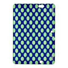 Mod Retro Green Circles On Blue Kindle Fire Hdx 8 9  Hardshell Case by BrightVibesDesign