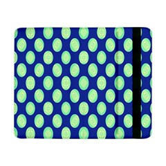Mod Retro Green Circles On Blue Samsung Galaxy Tab Pro 8 4  Flip Case by BrightVibesDesign