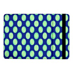 Mod Retro Green Circles On Blue Samsung Galaxy Tab Pro 10 1  Flip Case by BrightVibesDesign